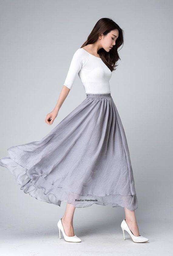 facfda1244f7 Chiffon maxi skirt long skirts for women grey skirt high | Etsy