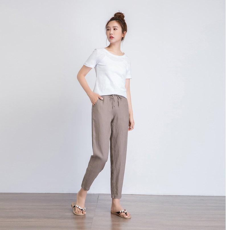 top-rated quality hot product best deals on Linen pants, cropped pants women, brown linen trousers, drawstring waist  pants, summer casual pants, women long pants, handmade pants 1939#