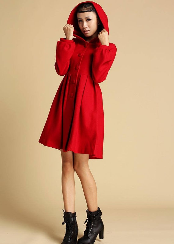 Wool Coat, Winter Coat women, Red coat Vintage, Hooded swing