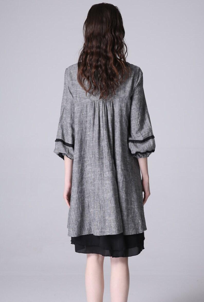 midi dress tunic dress loose linen dress linen tunic oversized dress Gray tunic dress summer linen dress womens dresses 1190#