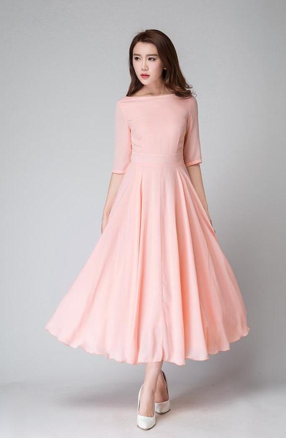 wedding dress pink dress bridesmaid dress chiffon dress