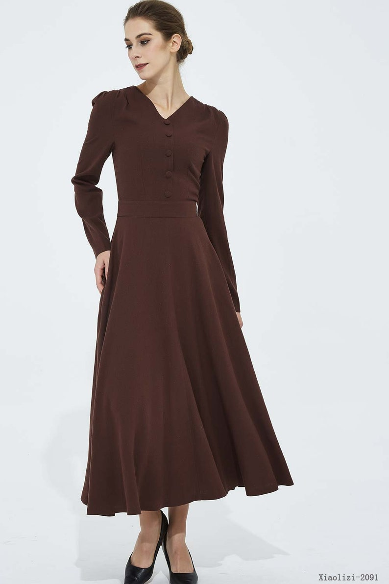 f9bc9ccb35b4 Brown maxi dress v neck dress long sleeves dress spring