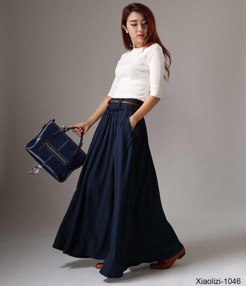 Linen skirt Maxi skirt linen pleated skirt long linen Navy blue - 1046