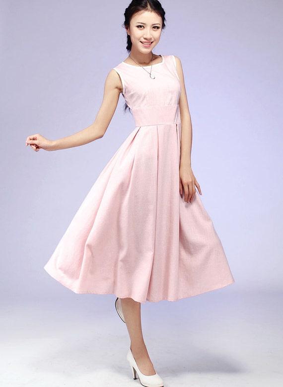 MIDI-Kleid rosa Kleid Vintage Kleid Leinen Kleid   Etsy