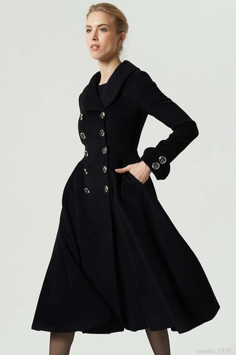 212d9ae7367 Double breasted coat black wool coat long trench coat long