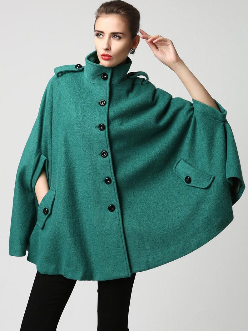 4f4b5d74e Wool cape coat, winter cape coat, womens cape, Turquoise wool coat, green  cape, green wool cape, cape for women, Gift for her 1129#