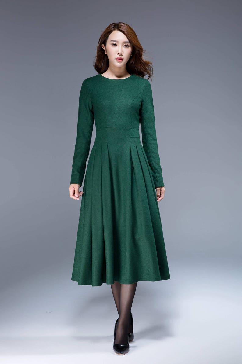 bbca227afaf Robe verte robe en laine robe mi-longue robe plissée