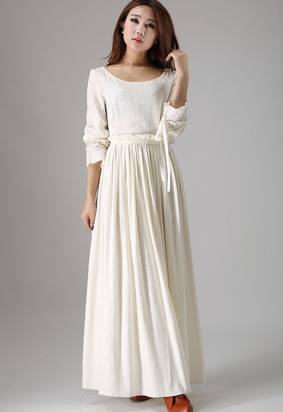 White maxi dress wedding dress bridesmaid dress long sleeve