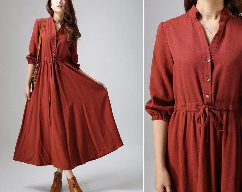 Rust Red Linen Shirt Dress  Casual Linen Maxi Dress with image 0