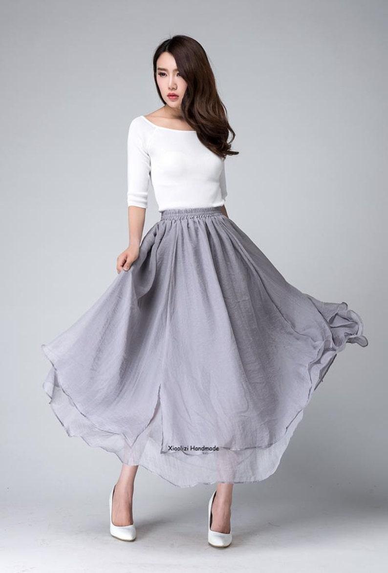 04533f0d43d62 Chiffon maxi skirt long skirts for women grey skirt high