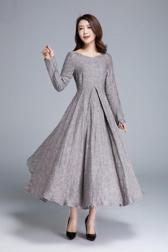 Long linen dress linen dress women party dress spring