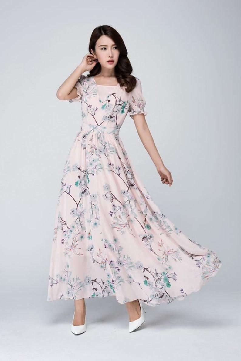 Magnifiek Roze chiffon jurk Floral Boho jurk dames jurken prom dress   Etsy #PQ09