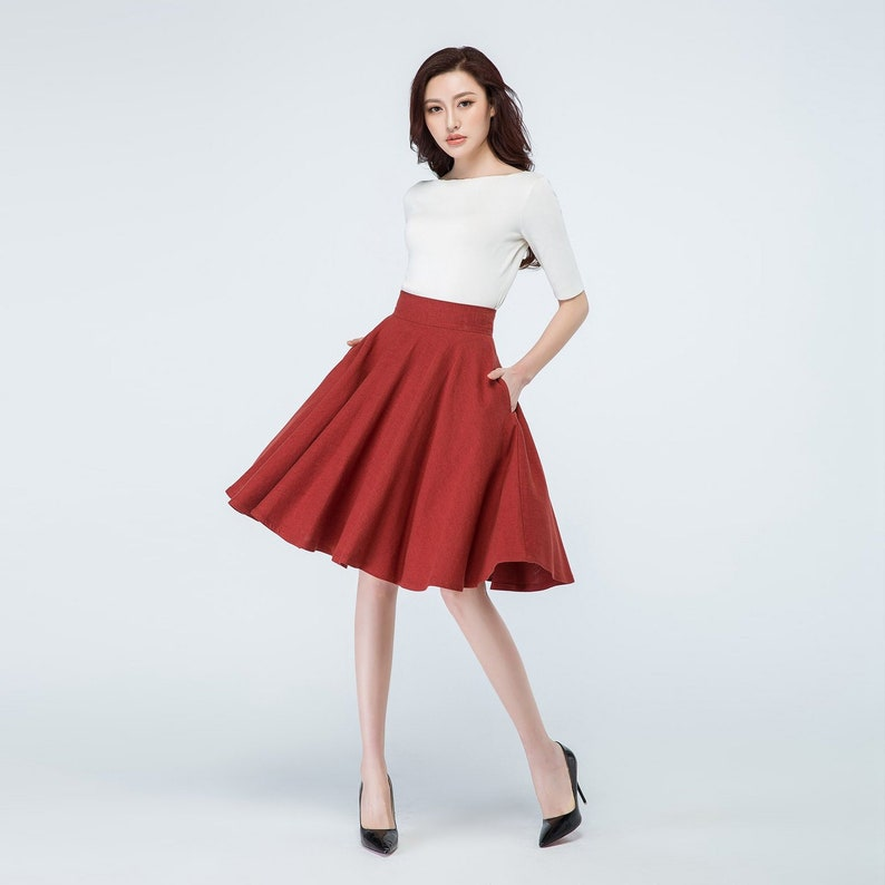 A Line Skater skirt midi skirt High waist skirt Circle 1-Red-1689