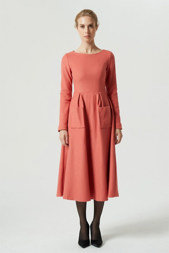 warm winter pockets wool dress wool midi dress dress Orange fit 1994 dress winter dress waist front women dress dress dress 60xOT