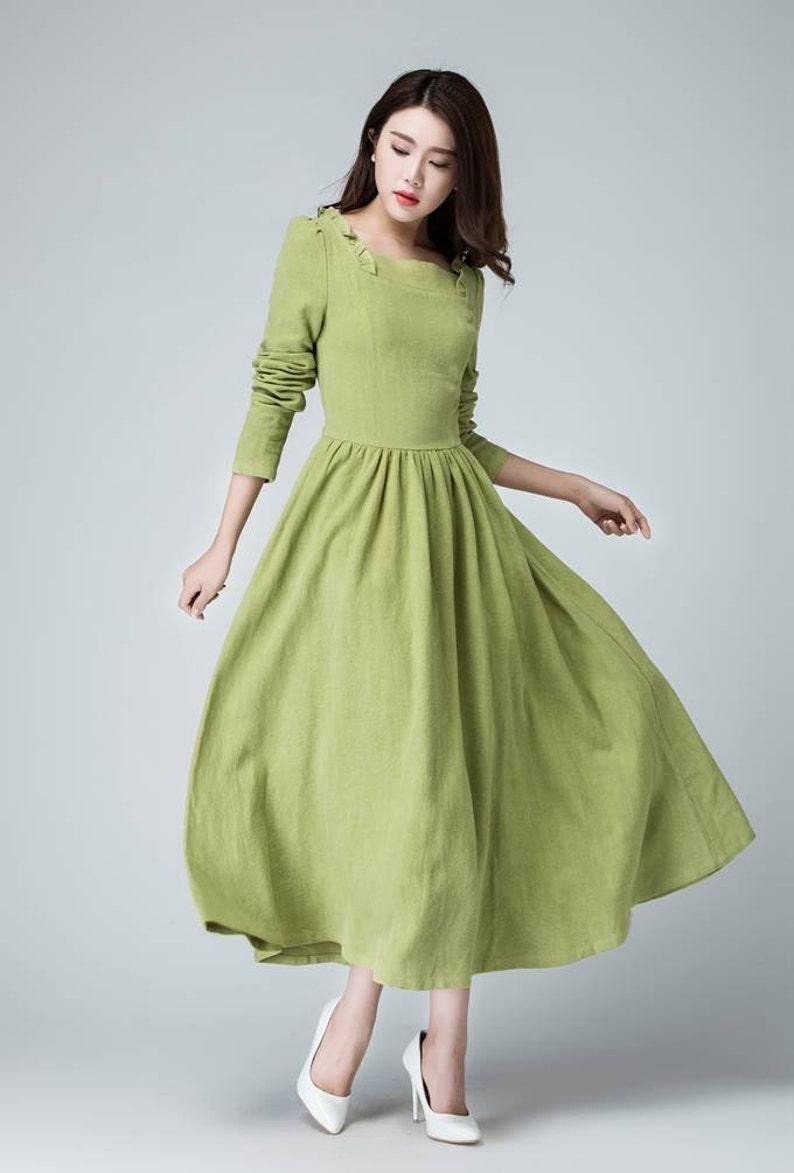 e9fbb2167c6 Sage green dress linen maxi dress long dress ruffle dress