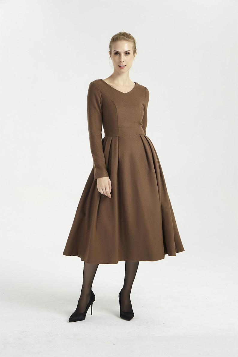 c63e4f90805774 MIDI jurk wol bruine jurk lange mouwen jurk geplooide jurk