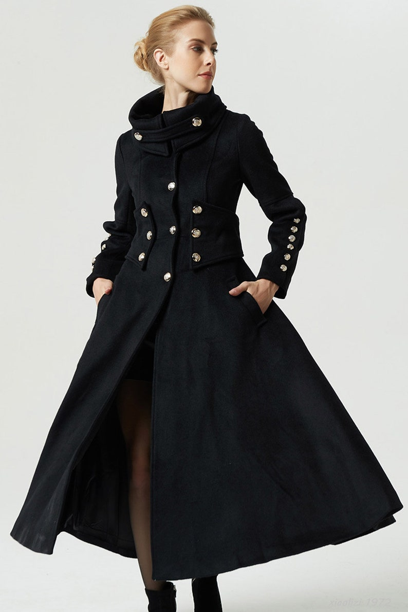 2d6a89df791 Black coat maxi coat military coat long trench coat women