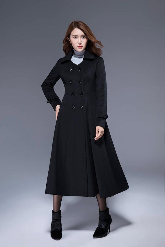 7faf4bfb25d Black wool jacket long coat fit and flare coat romantic