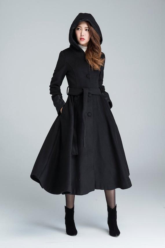 Schwarzer Mantel Aus Wolle Lange Trenchcoat Kapuzen Mantel Etsy