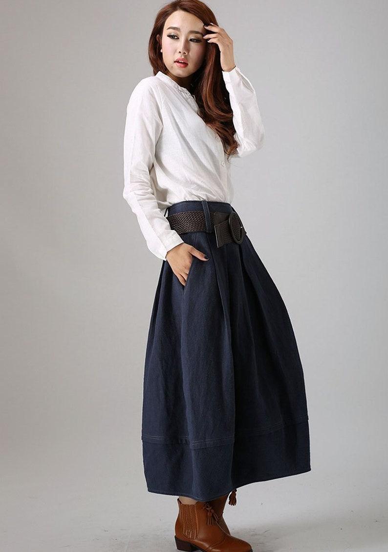 14fee549c0a446 Jupe en lin, jupe bleu marine, jupe longue en lin, jupe bourgeon, jupe en  lin pour femmes, longue jupe bleue, jupe avec poches, jupe plissée bleue ...