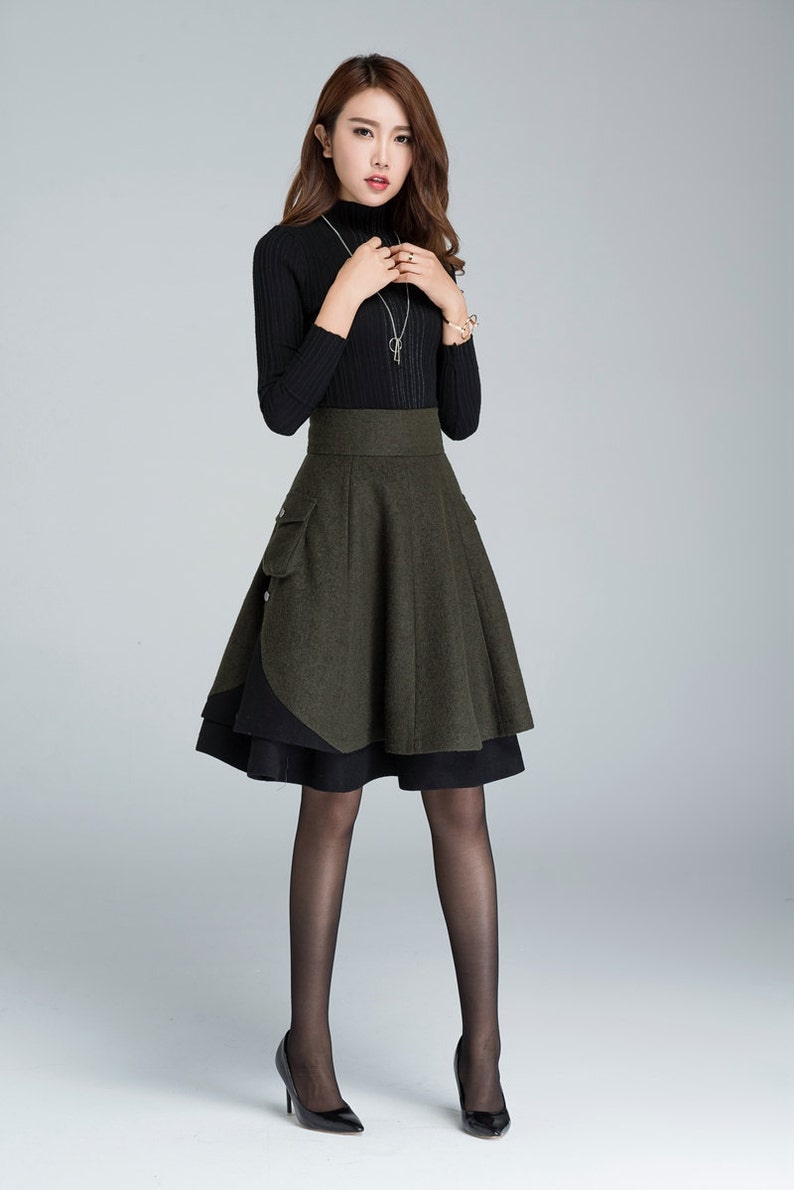 High waist Midi skirt Short wool skirt winter skirt Wool green--1627#