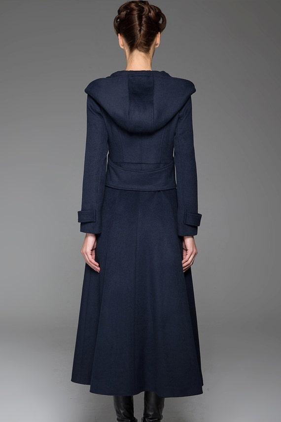 Wool Long coat Navy coat trench Navy 1420 military hooded Winter Coat made coat Custom warm coat coat long Blue jacket coat Coat ICqOywqg