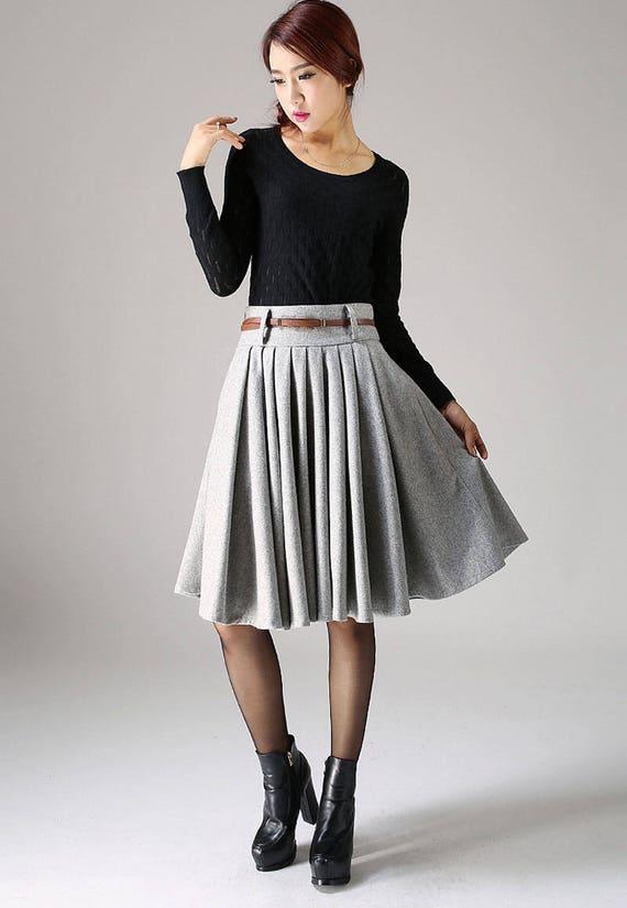 skirts skirt length with skirt knee skirt skirt womens skirt 1097 skirt short pleated Grey circle pockets skirt winter skirt wool qAxw4c6g