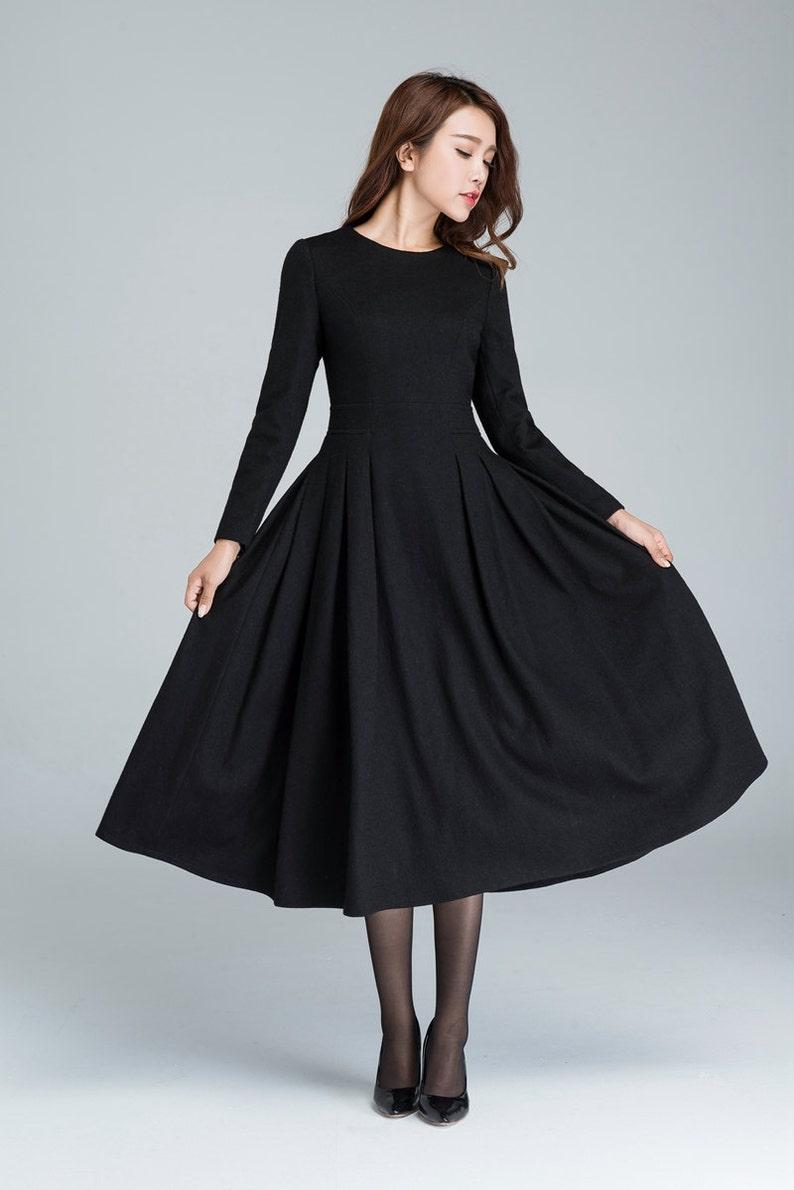 73d769c4c488 Lungo nero vestito abito in lana abito invernale abito a