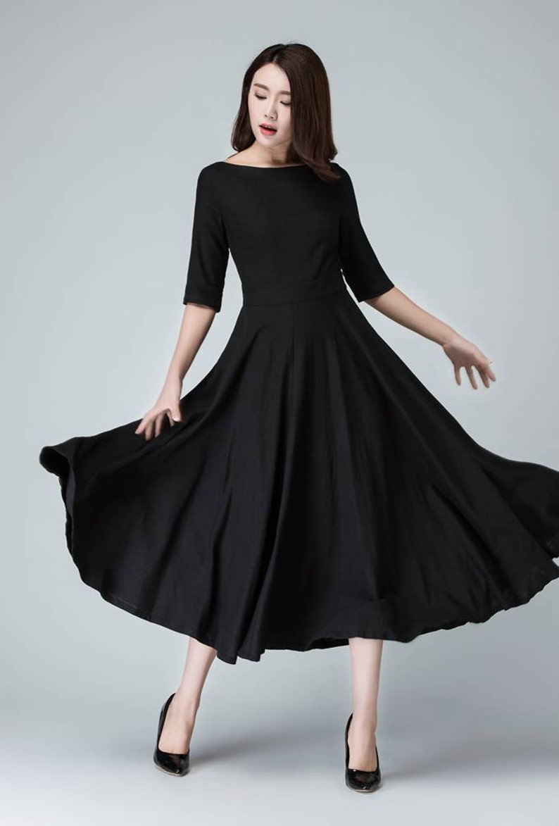 Black linen dress summer dress womens dresses black dress
