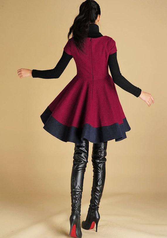 dress modern custom dress dress and pleated sleeves designer made dress dress clothing short fit dress wool 427 winter mini flare w4f40xcpqB