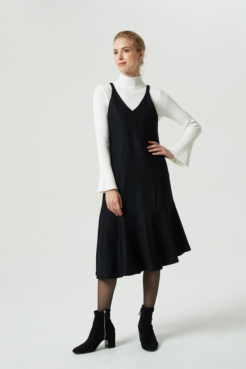 5b83135d591 Black wool dress wool dress winter dress fishtail dress