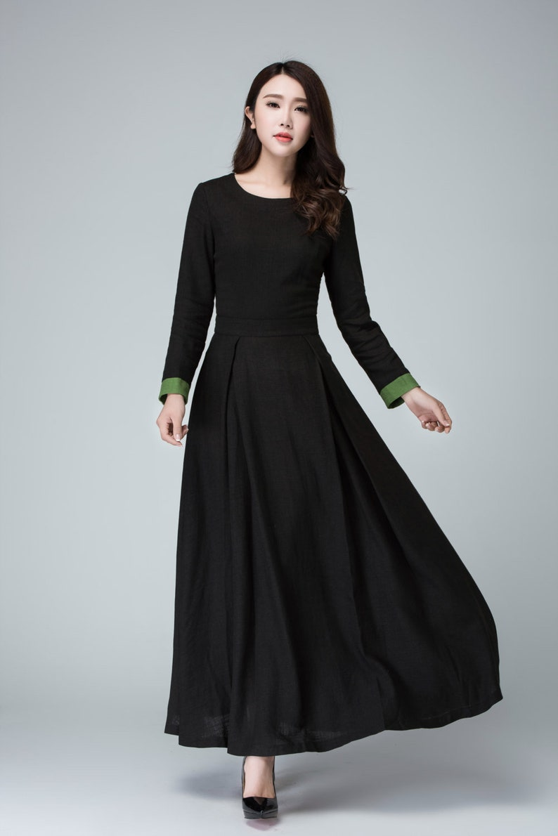 Black dress long sleeve dress prom dress linen dress maxi  56ba50d20