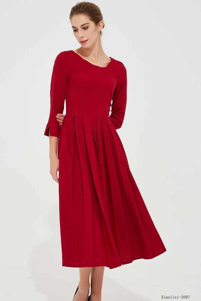 5f9c9186ed6 Robe en lin rouge robe mi-longue robe plissée robe