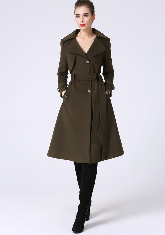 Wool Trench coat, military coat, Army green coat, winter coat women, wool coat, asymmetrical coat, buttoned coat, coat with pockets 1053#