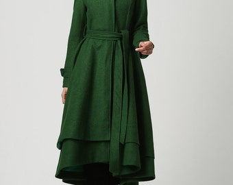 wool coat, green coat, long coat, green wool coat, winter coat , wool coat women, warm winter coat, made to order, long wool coat (1112)