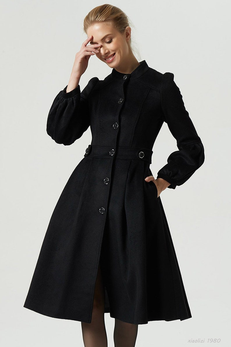 buy popular 981c3 50a69 Frauen Wintermantel, Kleid Mantel, schwarze Wolle Mantel, geknöpfte Mantel,  Mantel mit Taschen, Laterne Ärmel Mantel, fitt Mantel, Wintermode 1980 #