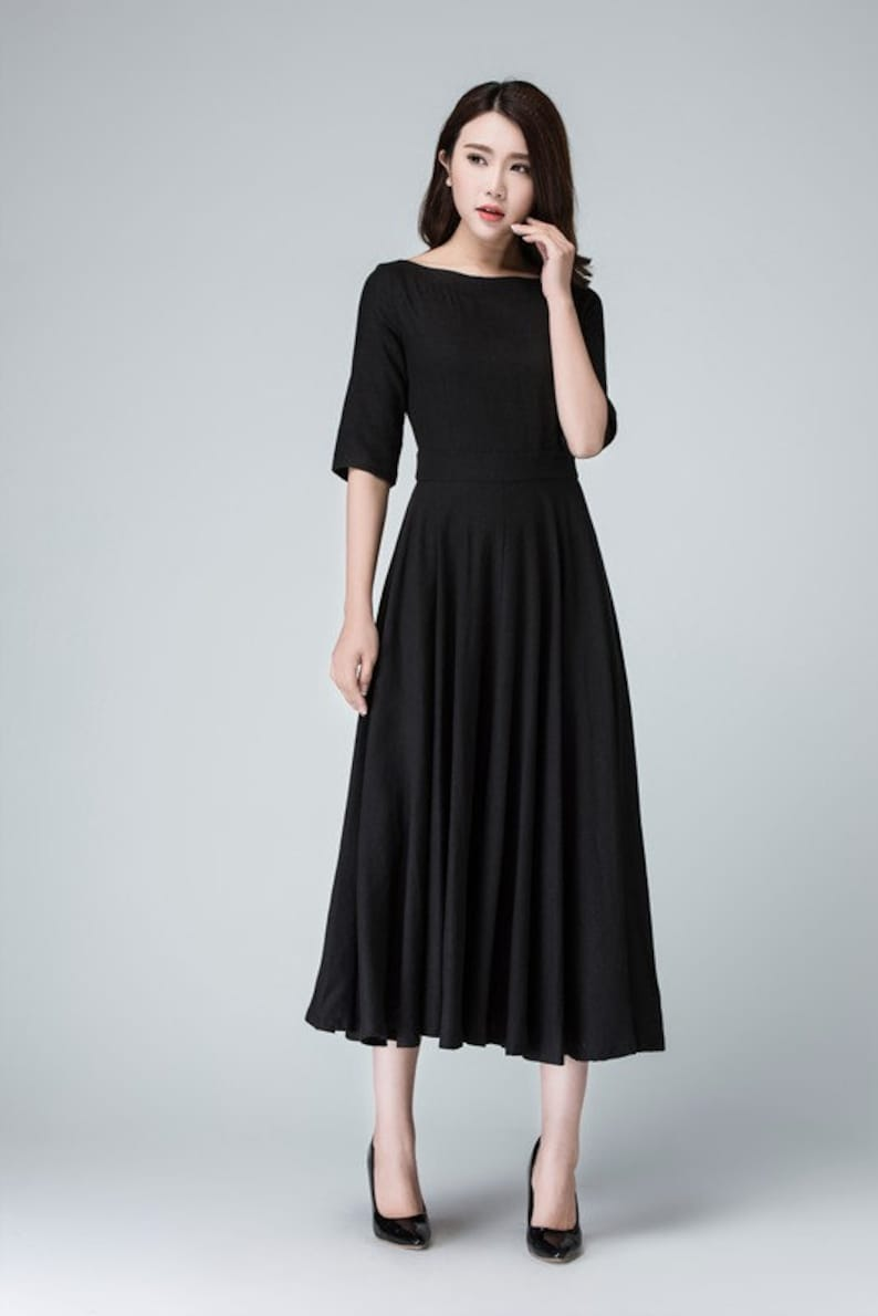 7446820f5bb63c Schwarzes Leinen Kleid Sommerkleid Frauen Kleider schwarze | Etsy