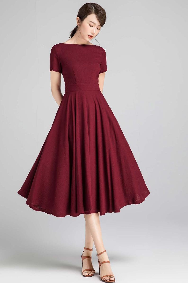 Boat Neck Swing dress Fit and Flare Linen Midi Dress Vintage 4-Burgundy-2336