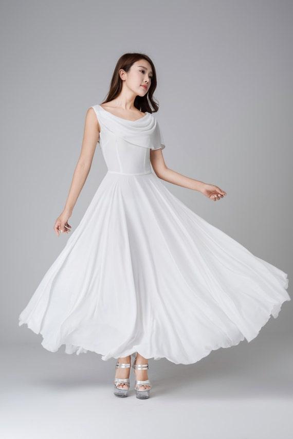 Weiße chiffon-Kleid weißes Kleid Maxi-Kleid Hochzeitskleid