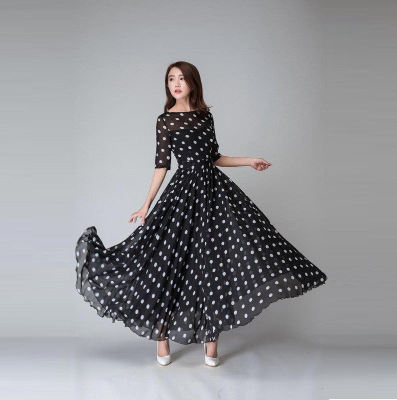 25dbcdd4f9f Polka dot maxi dress Womens prom dresses vintage dress