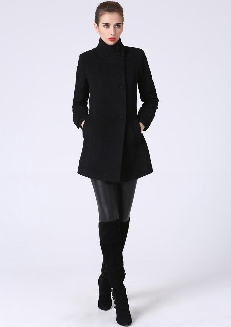 c5a73d5e5e41 Giacca di lana cappotto nero giacca corta cappotto di lana