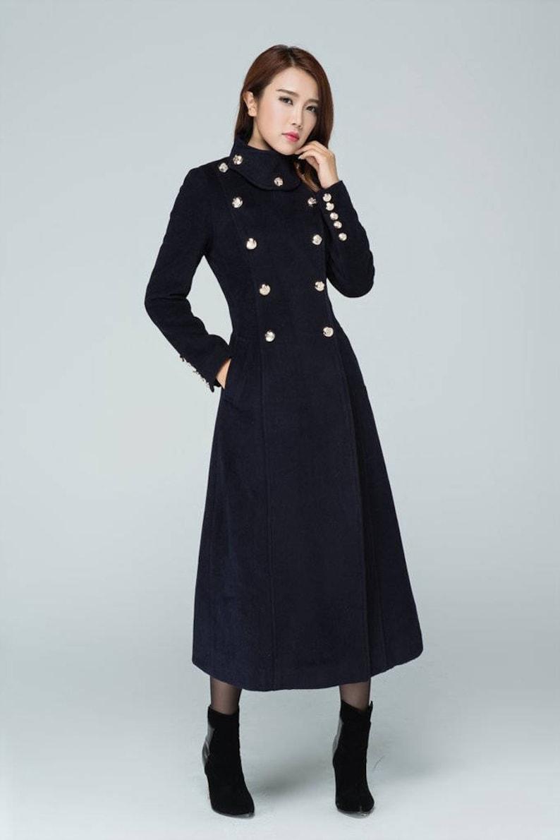 3441271b6f7a Navy wool coat maxi coat military coat classic coat double