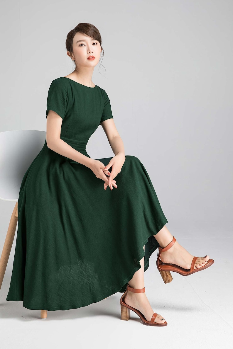 Boat Neck Swing dress Fit and Flare Linen Midi Dress Vintage Green-2339
