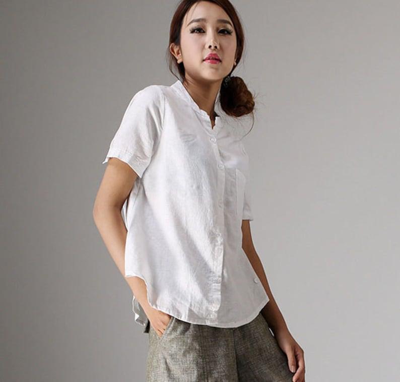 80993c0d257 Linen blouse white linen tops short sleeve tops casual | Etsy