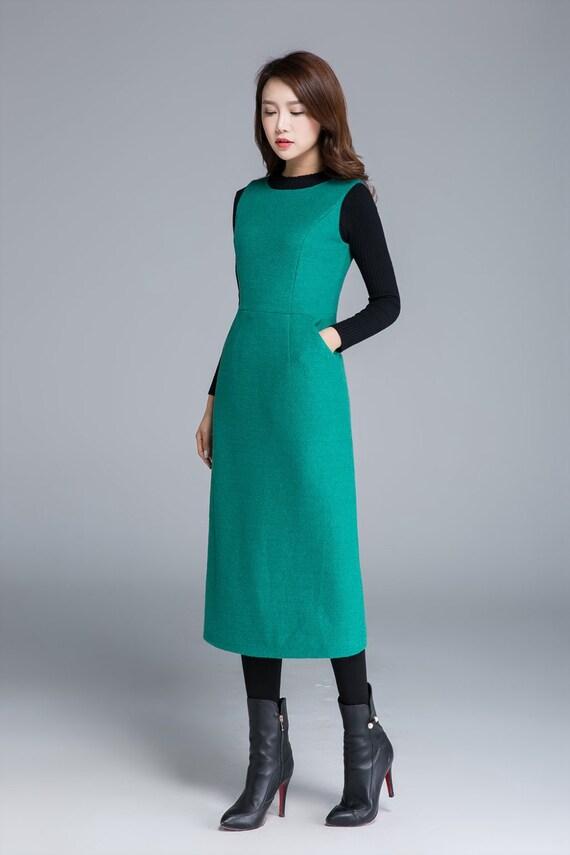 green dress wool dress fitted dress sleeveless dress  c235e51b7