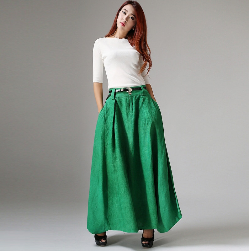 low priced 30bc9 2b0a7 maxi gonna lunga, gonna verde smeraldo, gonna boho, gonna di lino, gonna  boho, gonna lunga, gonne da donna, gonna autunnale, gonna plissettata 1038 #