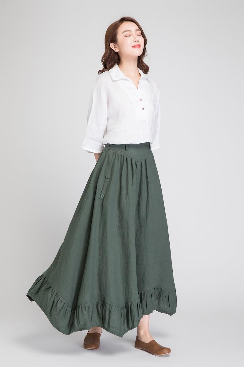 bb944cd4f5bc Dark green skirt linen skirt women maxi skirt summer skirt | Etsy