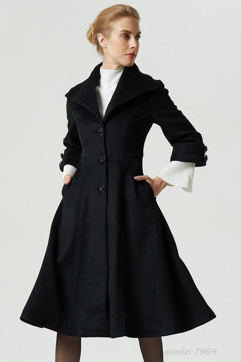 the best attitude c02b0 f147f schwarzer Mantel, Wollmantel, Revers Kragen Mantel, Frauen Mantel,  Wintermantel, warmen Mantel, Midi-Mantel, ausgestattet Taille Mantel,  handgemachte ...