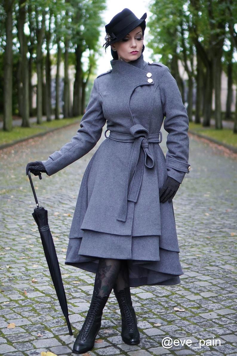 Long Wool coat Asymmetrical coat wool coat Gothic coat 5-Dark gray-2408