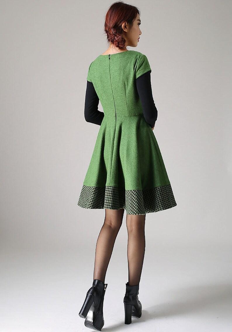 a3c37c5f6f816a Grüne Kleid Wolle Winterkleid Frauen Kleid Skater-Kleid | Etsy